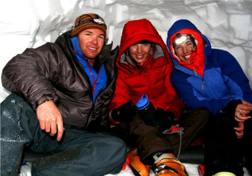 I will always be in awe of the hard-core abilities of my relatives. Denver, Chelsea and Jocelyn in their snow-cave on Shasta.
