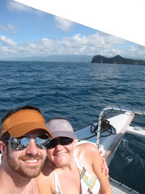 Costa Rica. Warm water. Hot sun. Hot husband. Pretty fishies. Big boat. Honeymoon love.